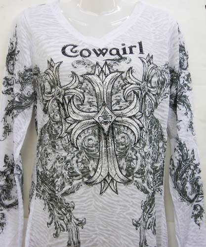 White Burnout Long Sleeve 3 Crosses Cowgirl Top