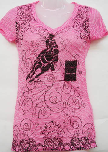 Pink Short Sleeve Burnout Barrel Racer Top