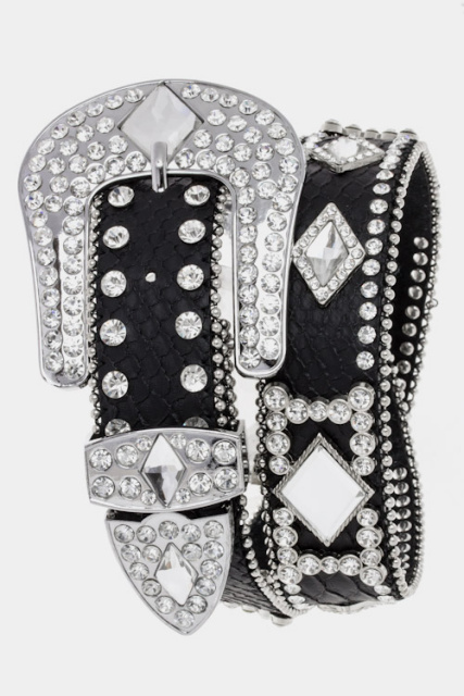 Diamond Concho and Rhinestone Belt (2 colors)