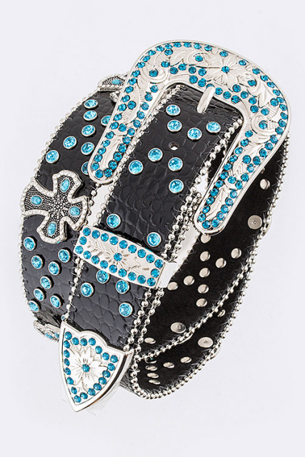 Cross & Blue Rhinestone Belt