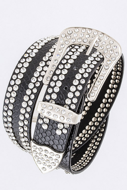 4 Row Rhinestone Belt (3 Colors)