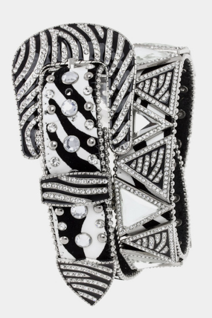 ZEBRA PATTERN TRIANGLE JEWEL STUD BELT