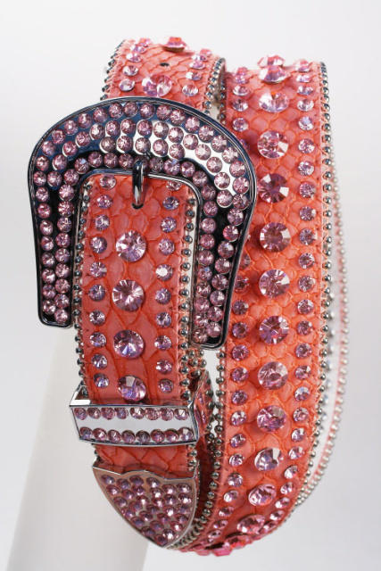 Pink - All Rhinestone Leather Belt