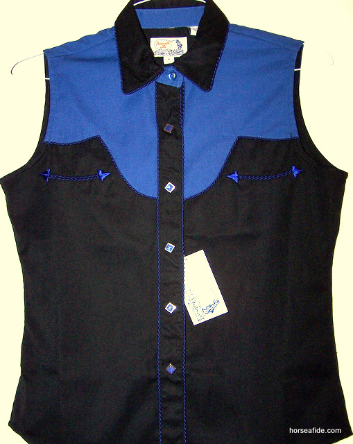Black with Blue PanHandle Slim Retro Style Ladies Top