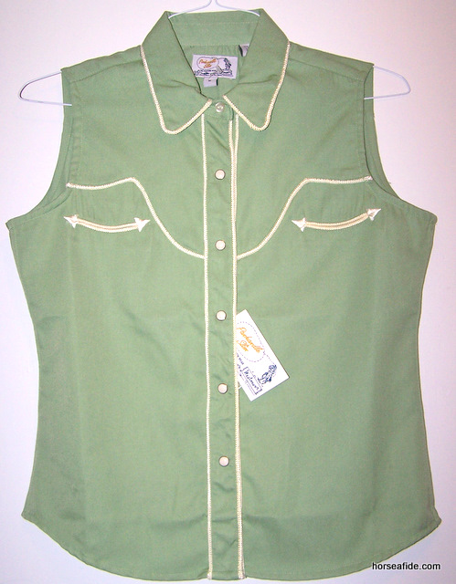 Medium Green PanHandle Slim Retro Style Ladies Top
