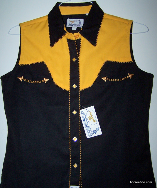 Black & Yellow Panhandle Slim Retro Style Ladies Top