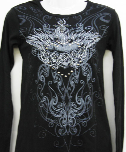 Black Royal Design LS Shirt Silver Nail Heads and Rhinestones