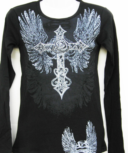 Black Winged Rose Cross LS